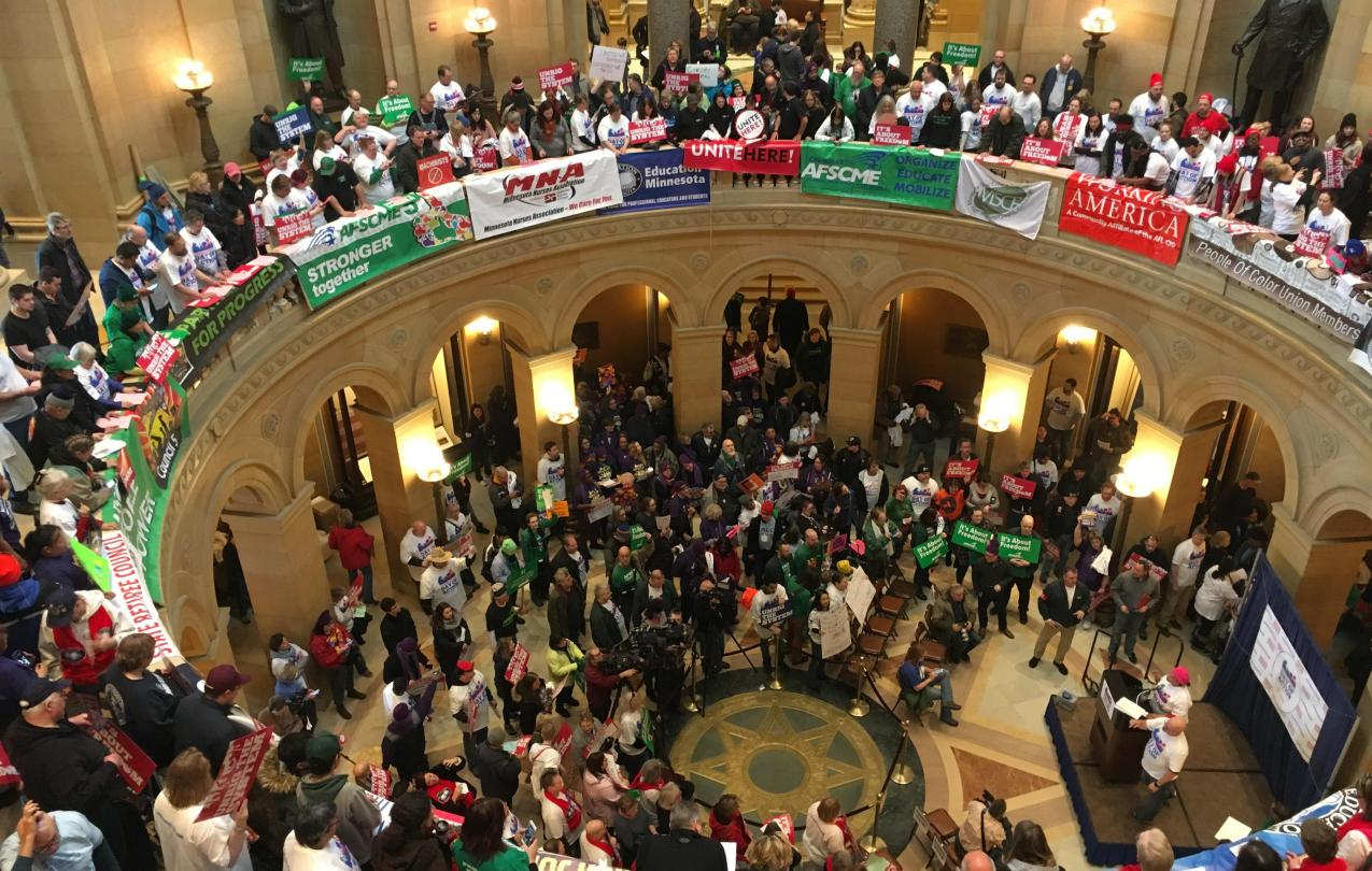 Union members fill the Minnesota Capitol Rotunda