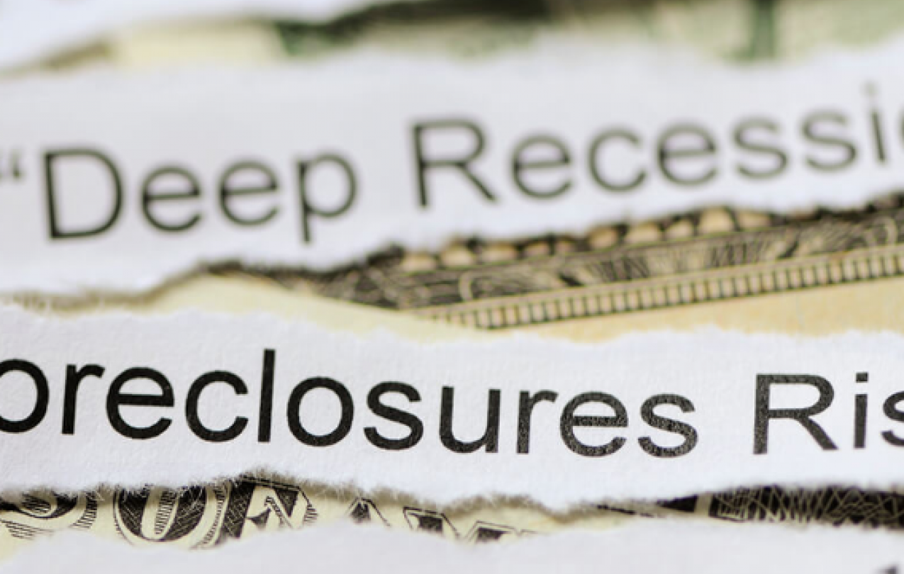 "Image of US dollars overlaid with text from two news headlines: ""US in Deep Recession"" and ""Foreclosures Rise"""
