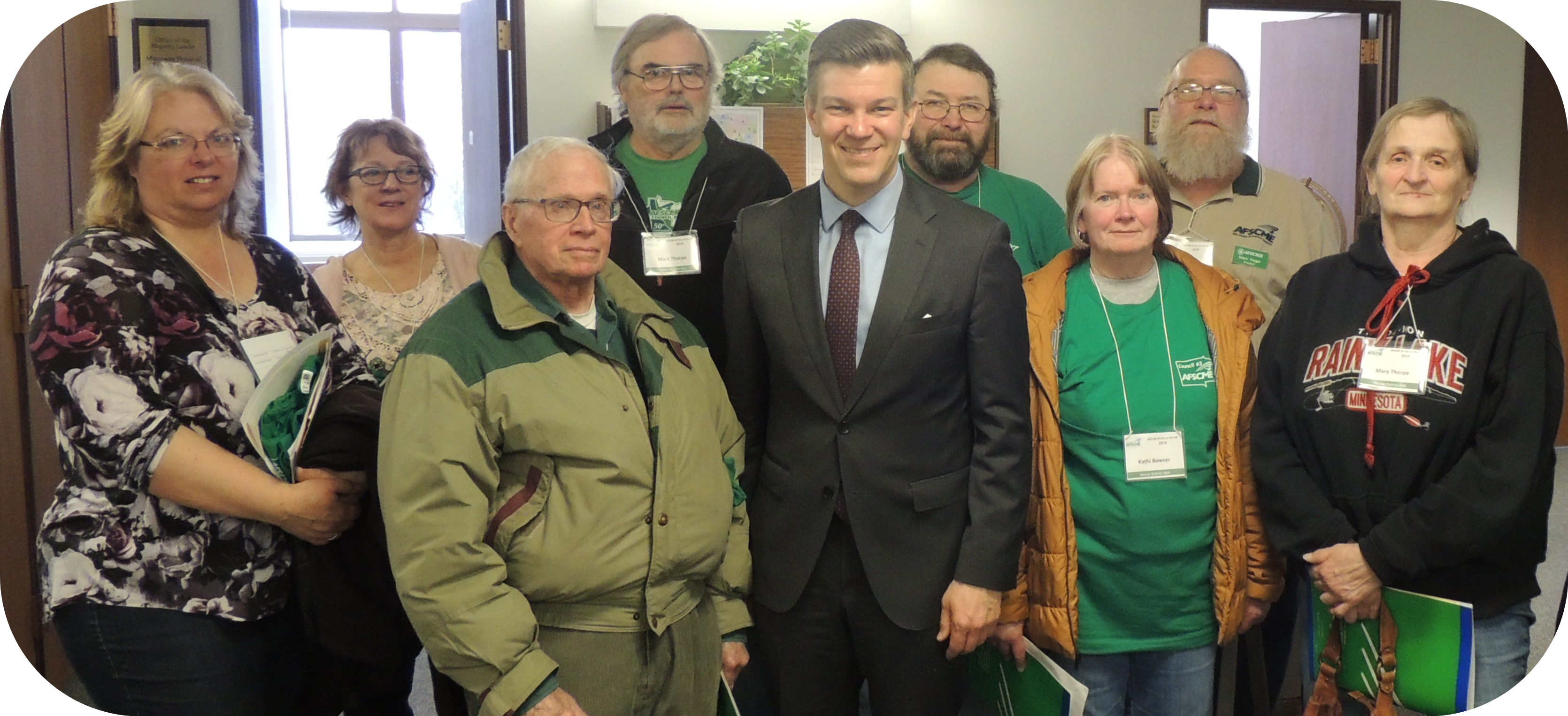 AFSCME 65 members meeting with Majority Leader Ryan Winkler during our 2019 Day on the Hill