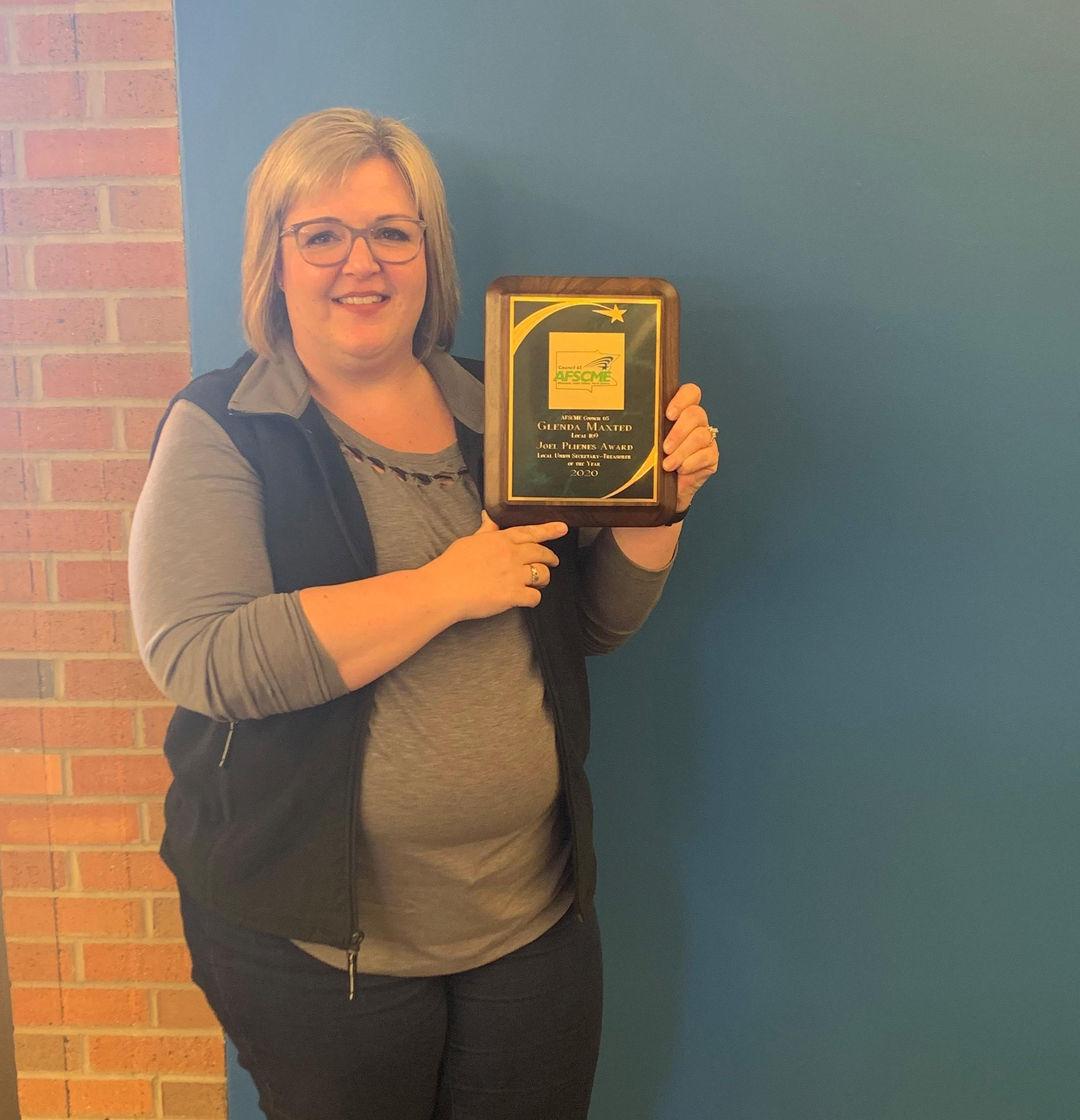 Glenda Maxted of Local 169 receives the 2020 Joel Plienis Award